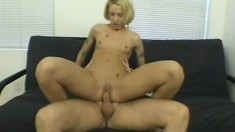 Fiona kisses his cock with her creamy cunt and makes it feel all better