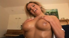 This darling blonde cutie likes playing with a pair of pricks