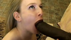Blonde college girl with a hot slender body smokes a cigarette and blows a black rod