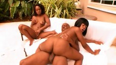 Two banging broads get their ebony cunts pounded out by the pool