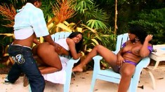 Barbie Banxxx & Stacey Fuxx give his hard woody some fantastic action