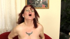 Nasty redhead mom in stockings fucks a hard pole until she's pleased