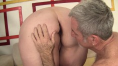Curvy redhead Kayla Mounds has a horny old man pounding her tight cunt