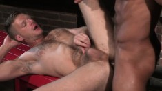 Two lustful gay friends take turns deeply drilling each other's asses