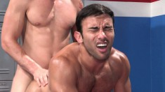 Two horny jocks get down and dirty in the locker room for hot anal and oral sex