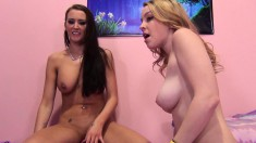 Blonde and brunette hotties take turns blowing and fucking a hard dick