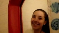 Skinny Babe Caught On Camera In The Shower