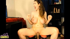 Babe Takes 2 Dildos In Pussy And Ass Continue on MyCyka com