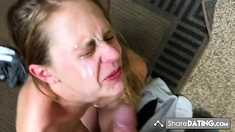 Amateur gf doesn't like his cum on face, but he doesn't care