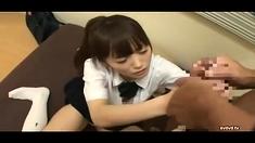 Sexy teen Asian in uniform rides cock like no tomorrow