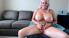 Blonde beauty with big boobs pt01