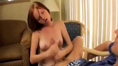 Tiny Teen Jerks That Huge Cock Again