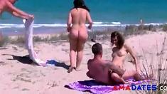 Couple on a nude beach